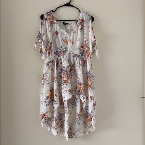 White Floral Torrid Tunic Top